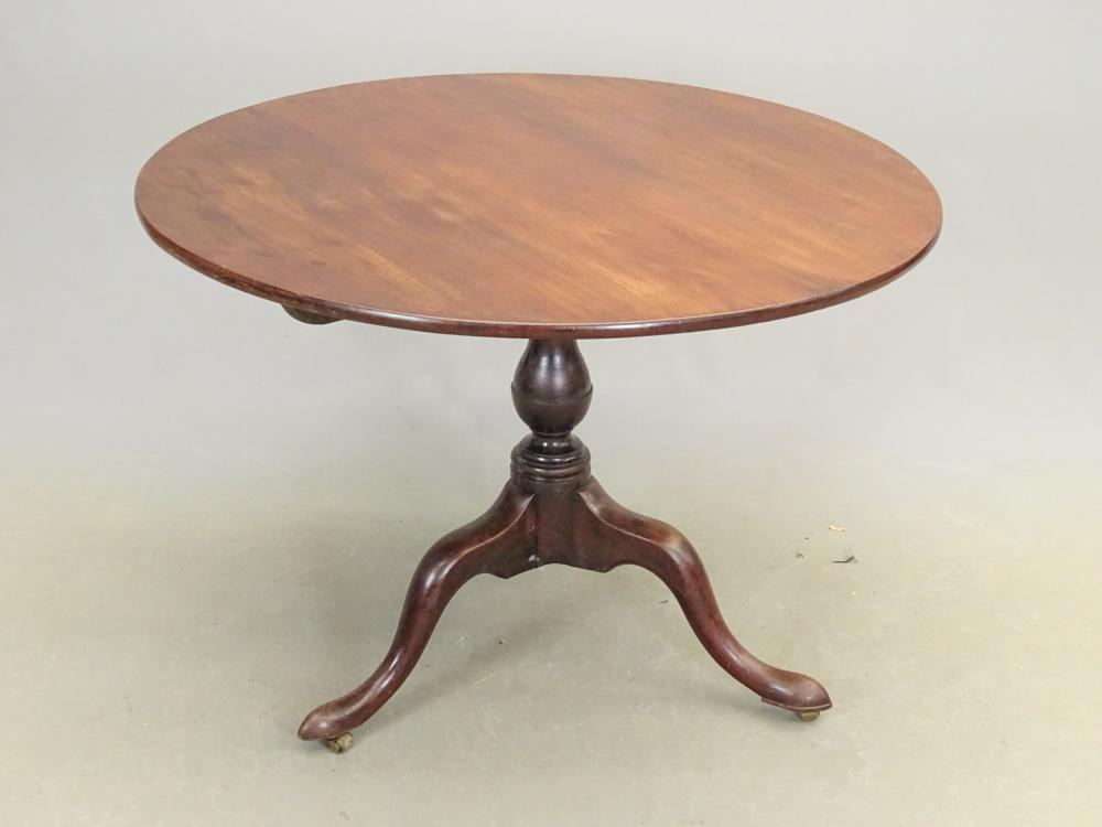 19th c. Mahogany Tilt Top Tea Table