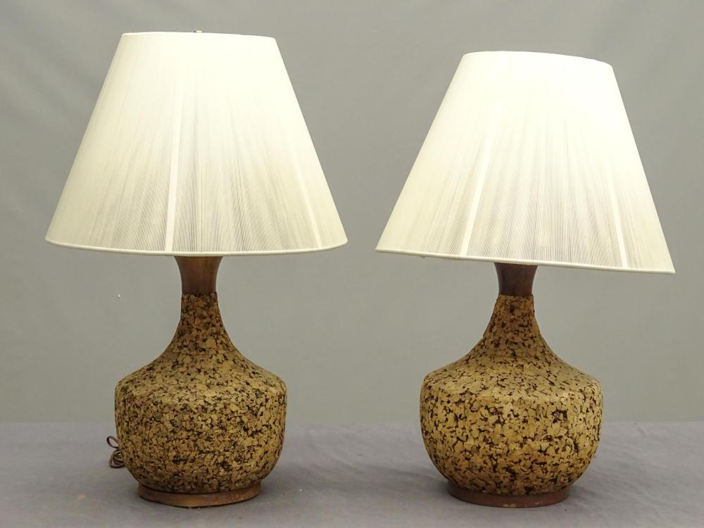 Pair Mid Century Cork Lamps