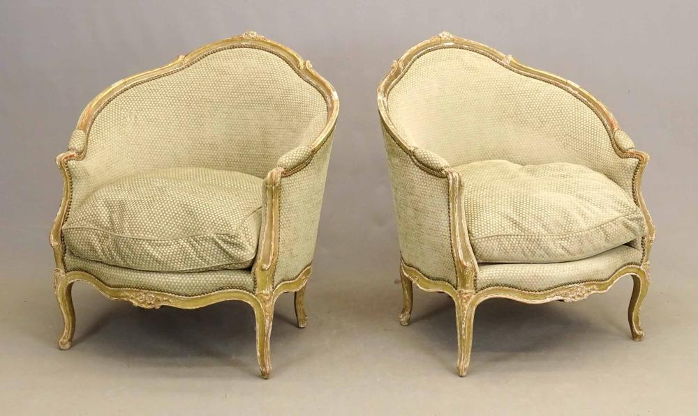 Pair French Upholstered Chairs