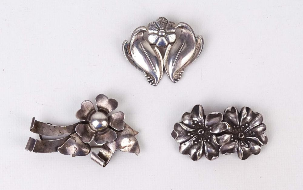 3 Sterling Silver Flower Brooches
