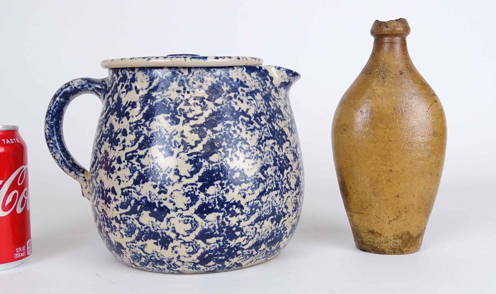 Spongeware Pot With Lid & Stoneware Bottle