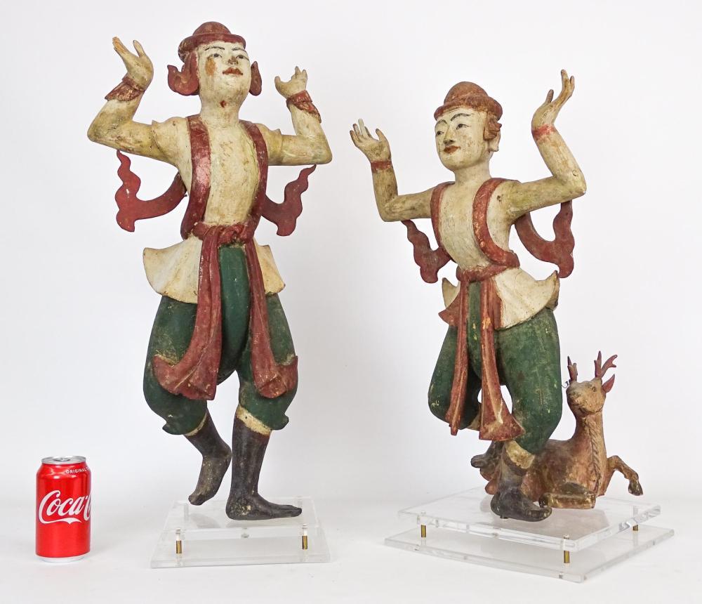 Pair Carved Wooden Tibetan Figures