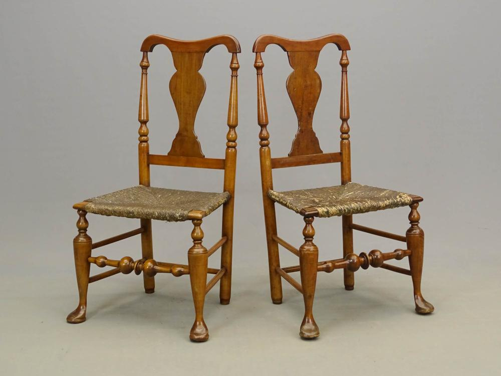 Pair 18th c. Jacob Smith Queen Anne Chairs