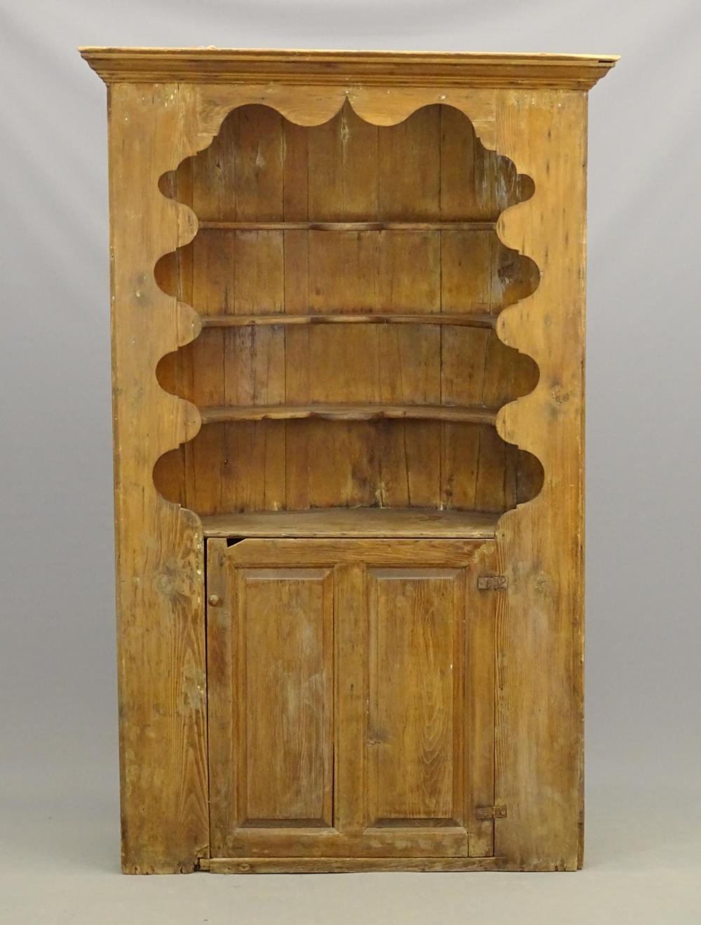 18th c. Pine Corner Cupboard