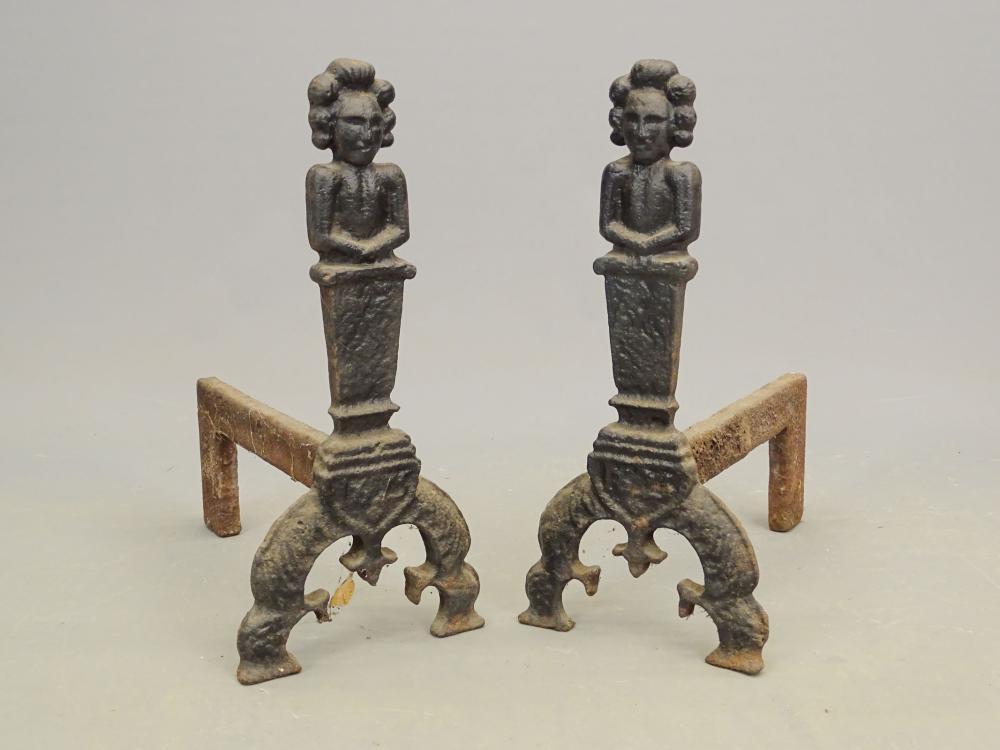 Pair 19th c. Cast Iron Figural Andirons