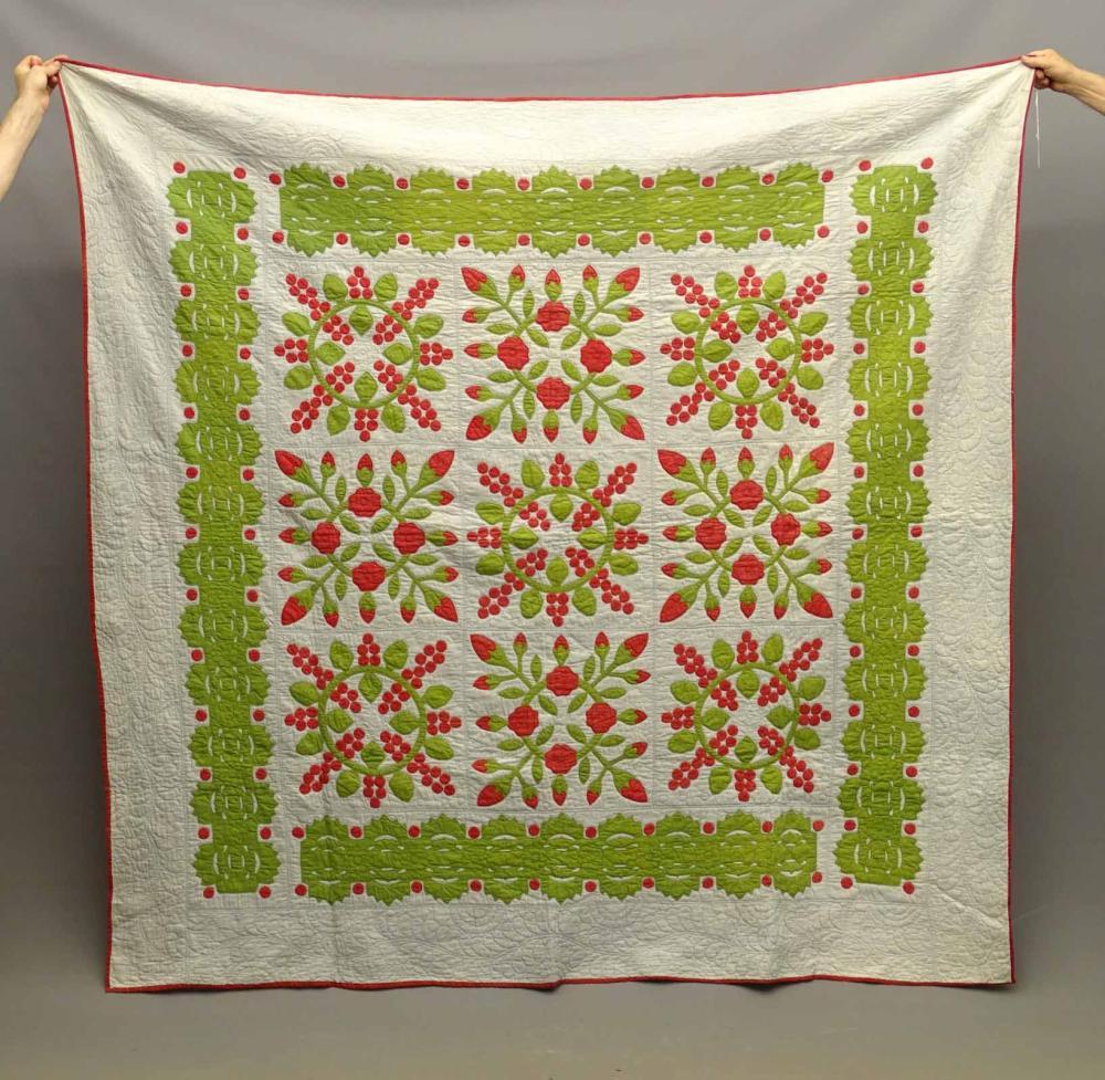 C. 1870's Floral Applique Quilt