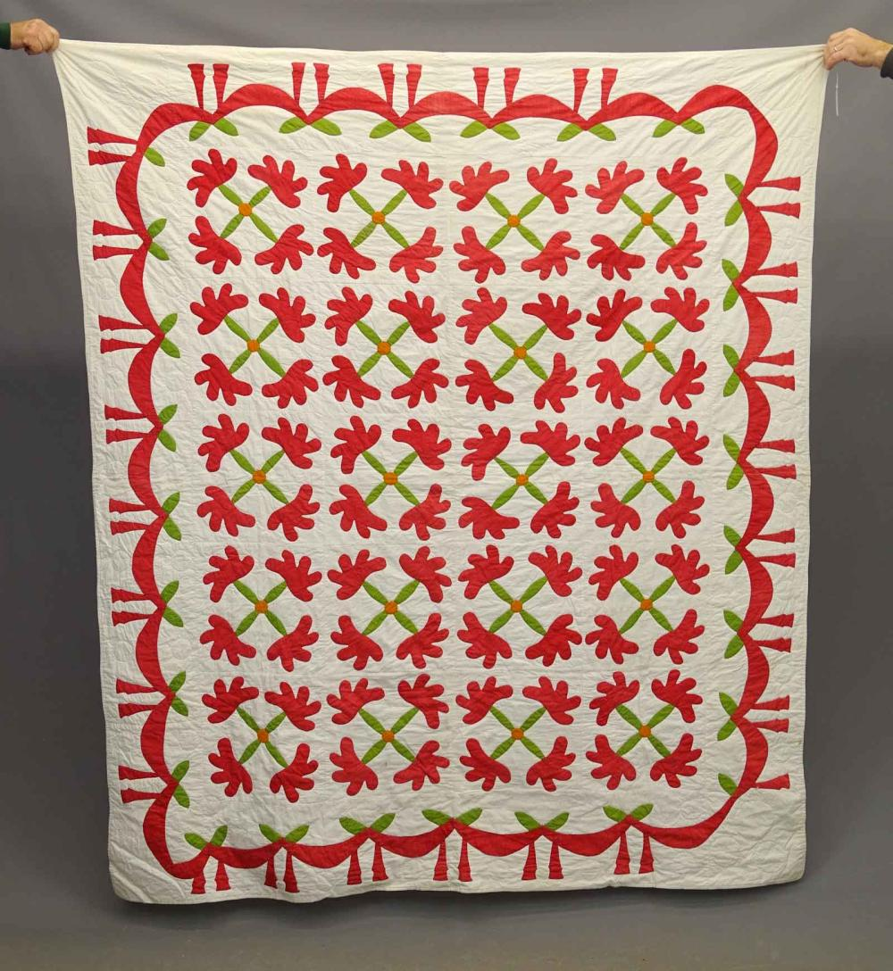 C. 1860 Red & Green Applique Quilt