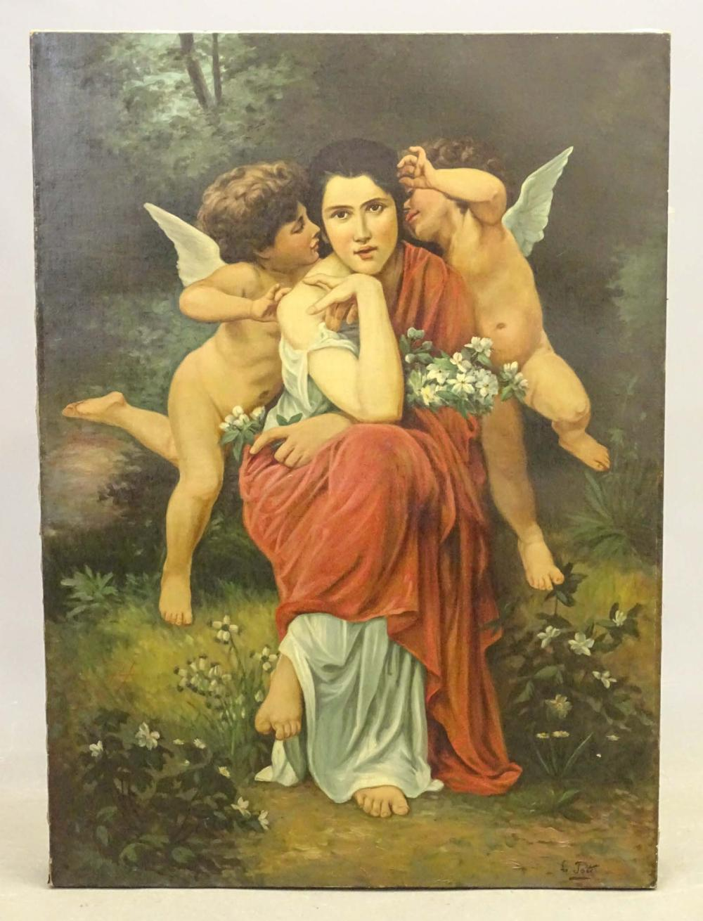 19th c. Painting, Woman With Cherubs