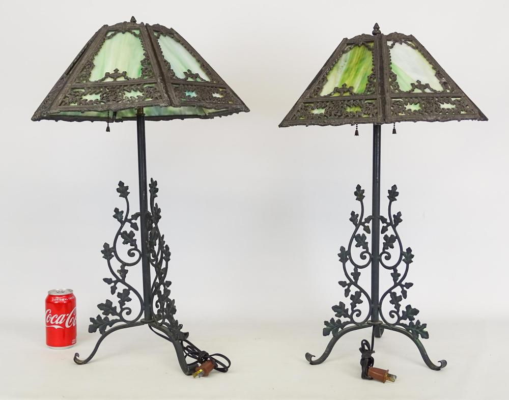 Pair Wrought Iron And Slag Glass Lamps