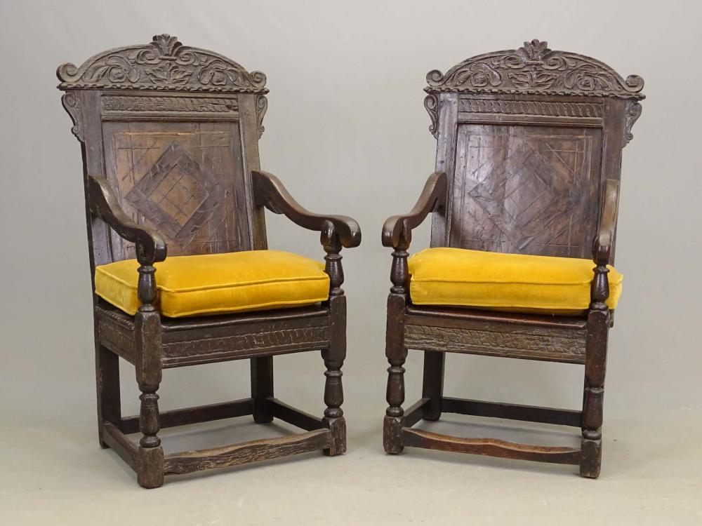 Pair Early Jacobean Armchairs