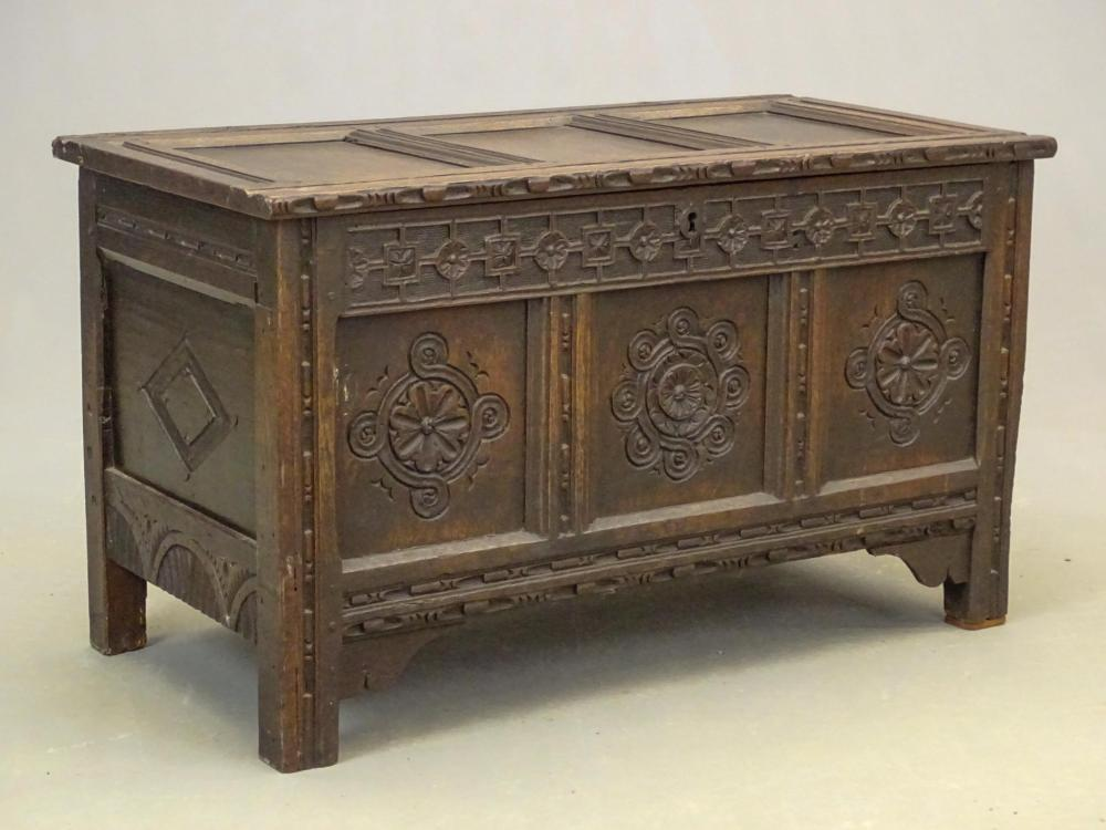 Early Carved Continental Blanket Box