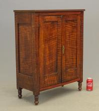 Lot 5: 19th c. Tiger Maple Cupboard