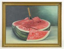Lot 8: American School, Still Life With Watermelon