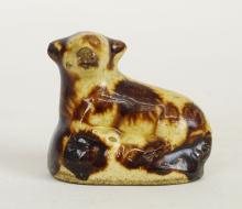 Lot 28: Miniature Rockingham Glaze Lamb