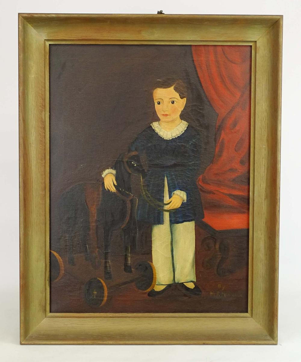 Lot 38: Folk Art Portrait Of Child With Rocking Horse