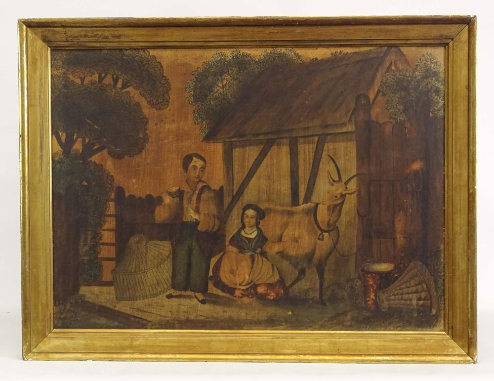 Painting, 19th c. Primitive Barnyard
