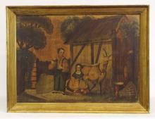 Lot 51: Painting, 19th c. Primitive Barnyard