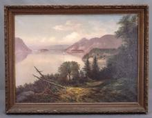 Lot 91: 19th c. Hudson River School, Landscape