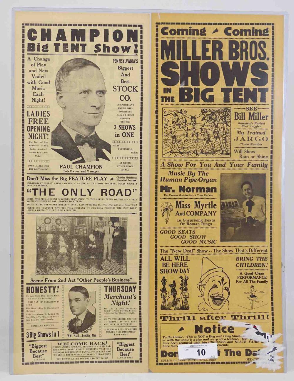 C. 1930's Circus Broadsides