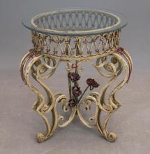 Lot 172: Glass Top Wrought Iron Table