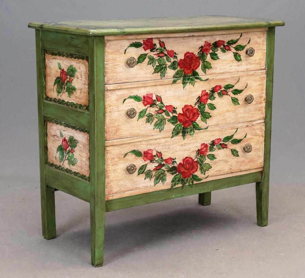 Paint Decorated Chest Of Drawers