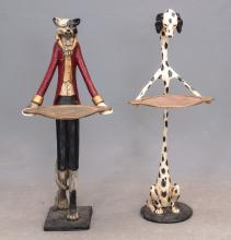 Lot 180: Pair Bill Huebbe Animal Figures With Trays