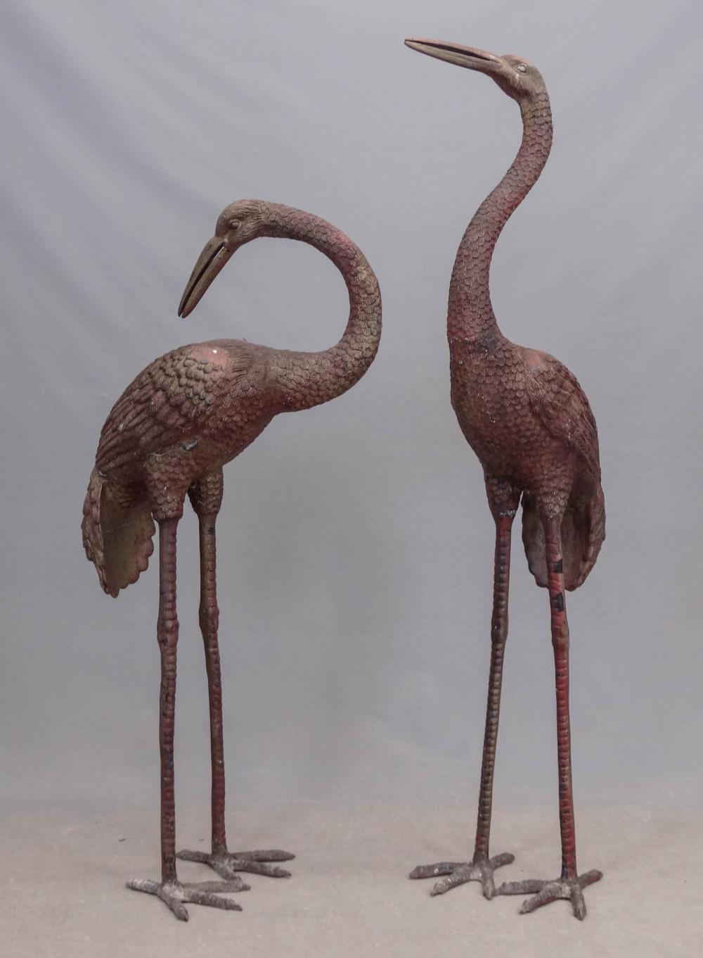 Pair Cast Metal Storks