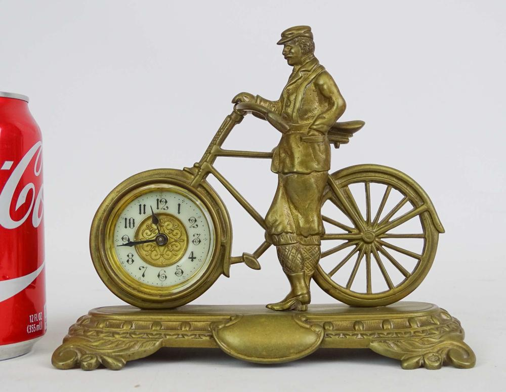 Early Brass Figural Bicycle Clock