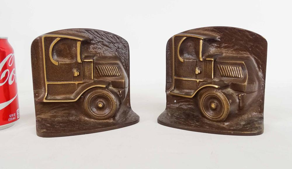 Pair Bronze Truck Bookends
