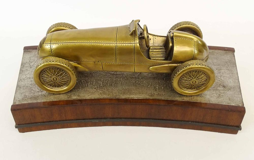 Brass Race Car Sculpture