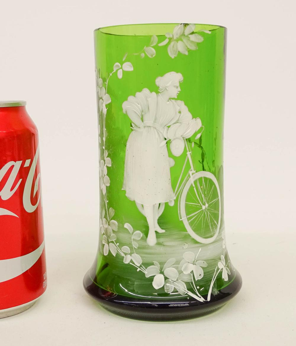 Green Glass Mug, Figure With Safety Bicycle