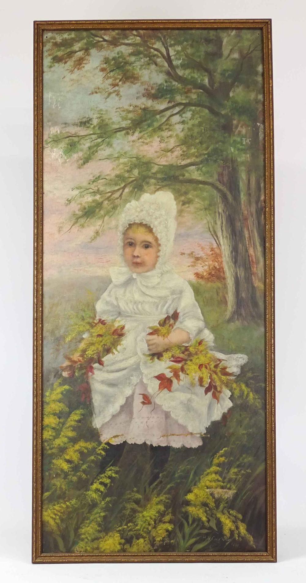 Painting, Little Girl With Flowers