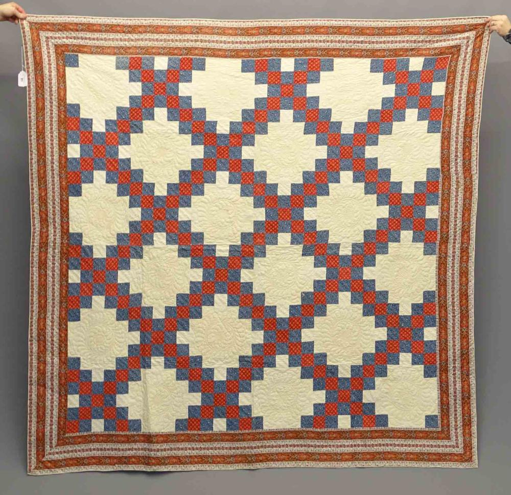 19th c. Quilt With Paisley Border