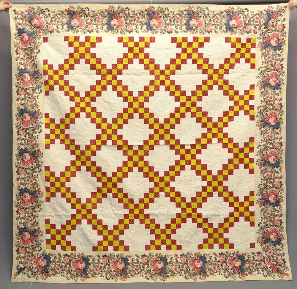19th c. Quilt With Chintz Border