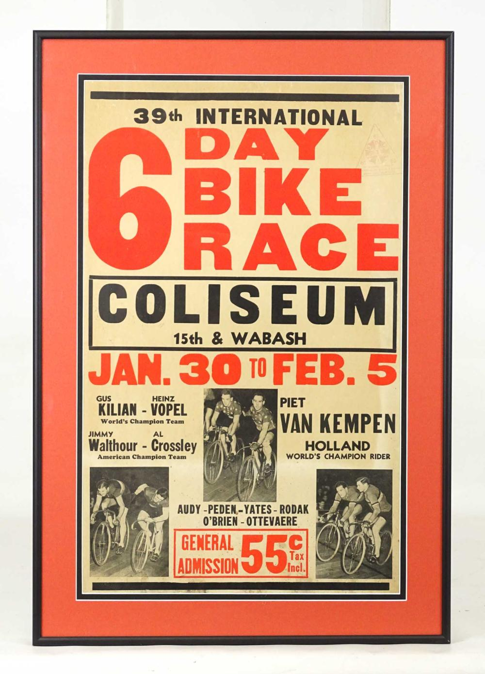 Framed 6 Day Bicycle Race Poster