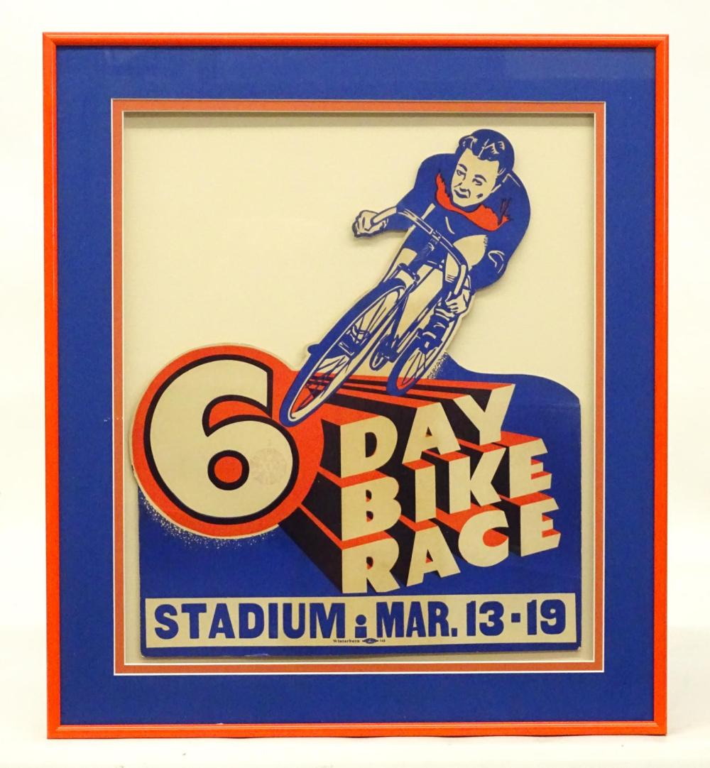 Framed C. 1920's 6 Day Bicycle Race Cutout Display