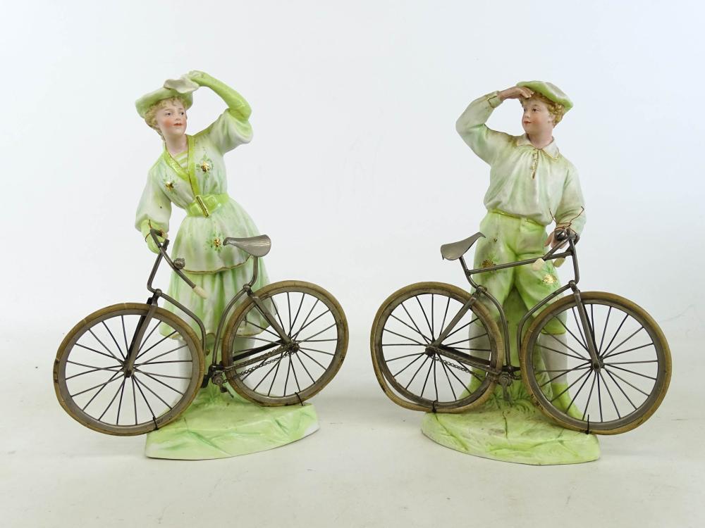 Pair Porcelain Heubach Bicycle Figurines