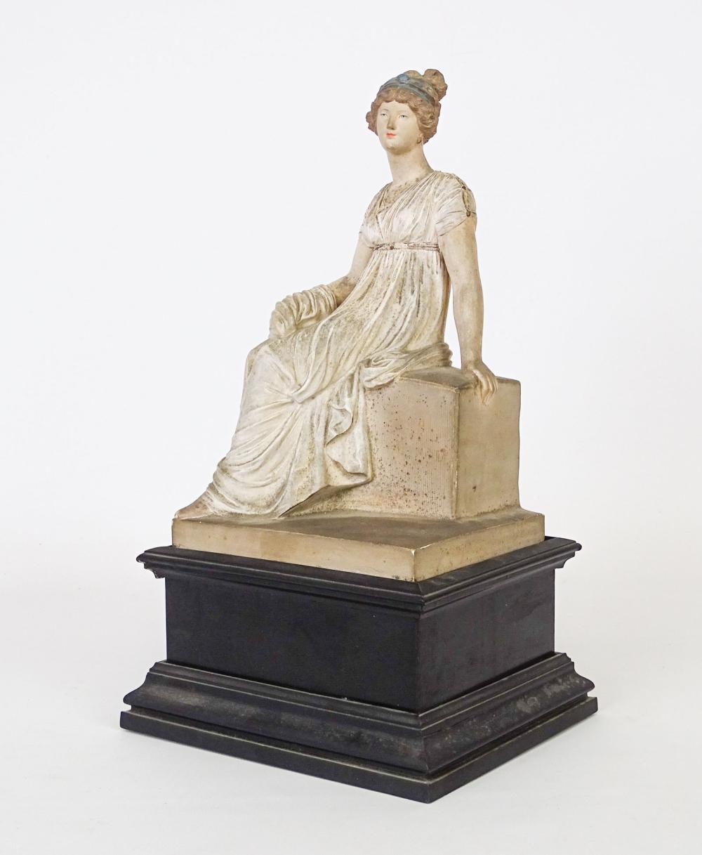 Rare Polychromed Clay Classical Figure