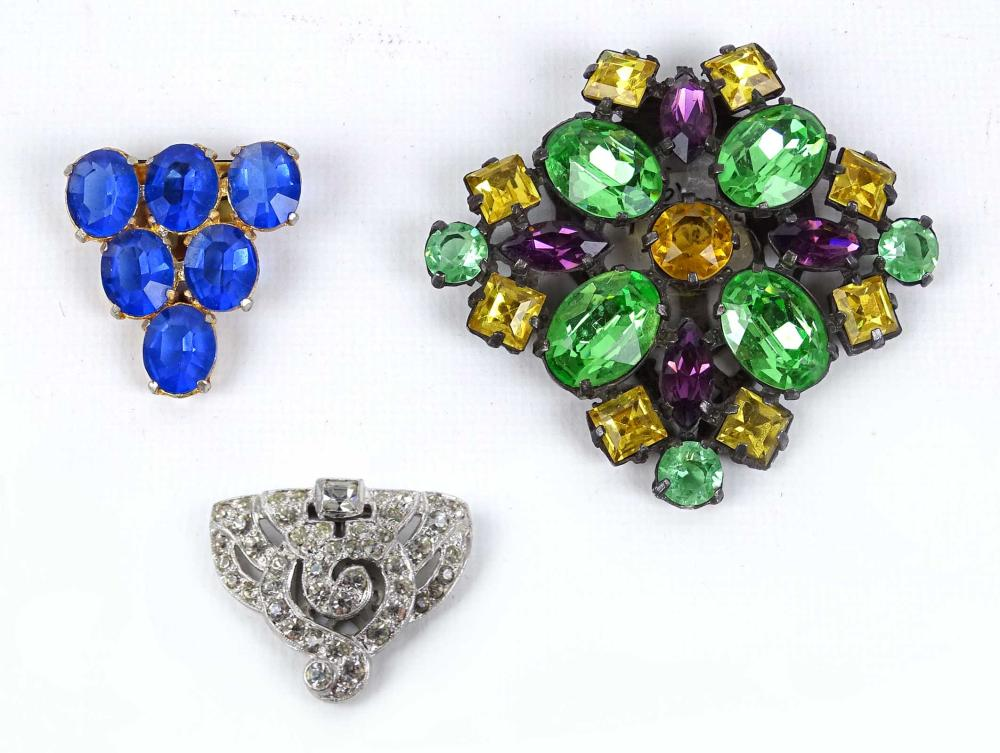 Lot of 1920-30's Rhinestone And Clip Pins