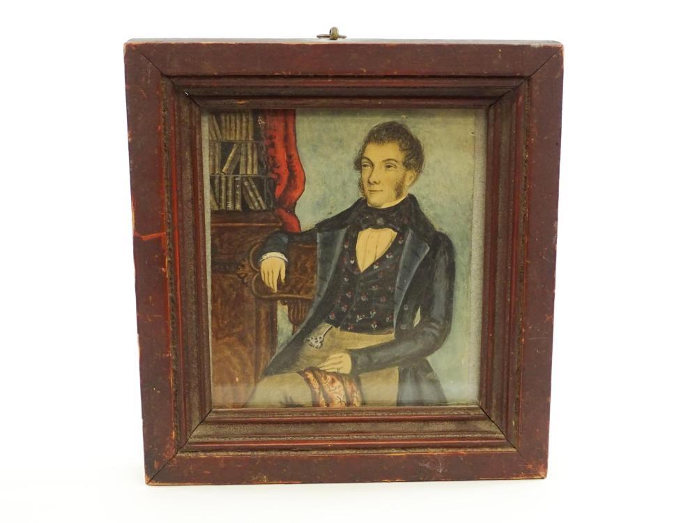 19th c. Watercolor Of A Gentleman