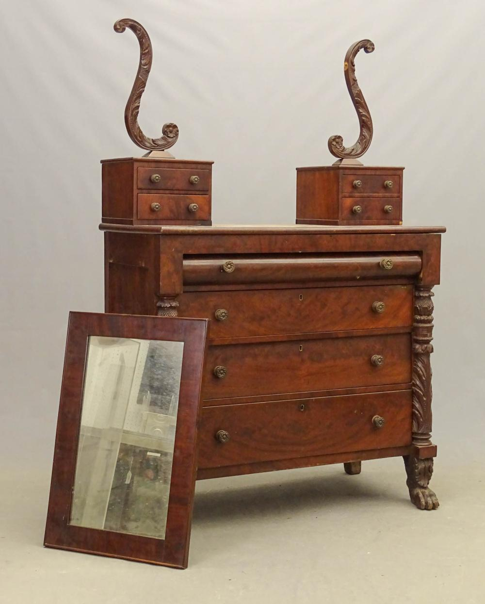 19th c. Empire Mahogany Chest Of Drawers