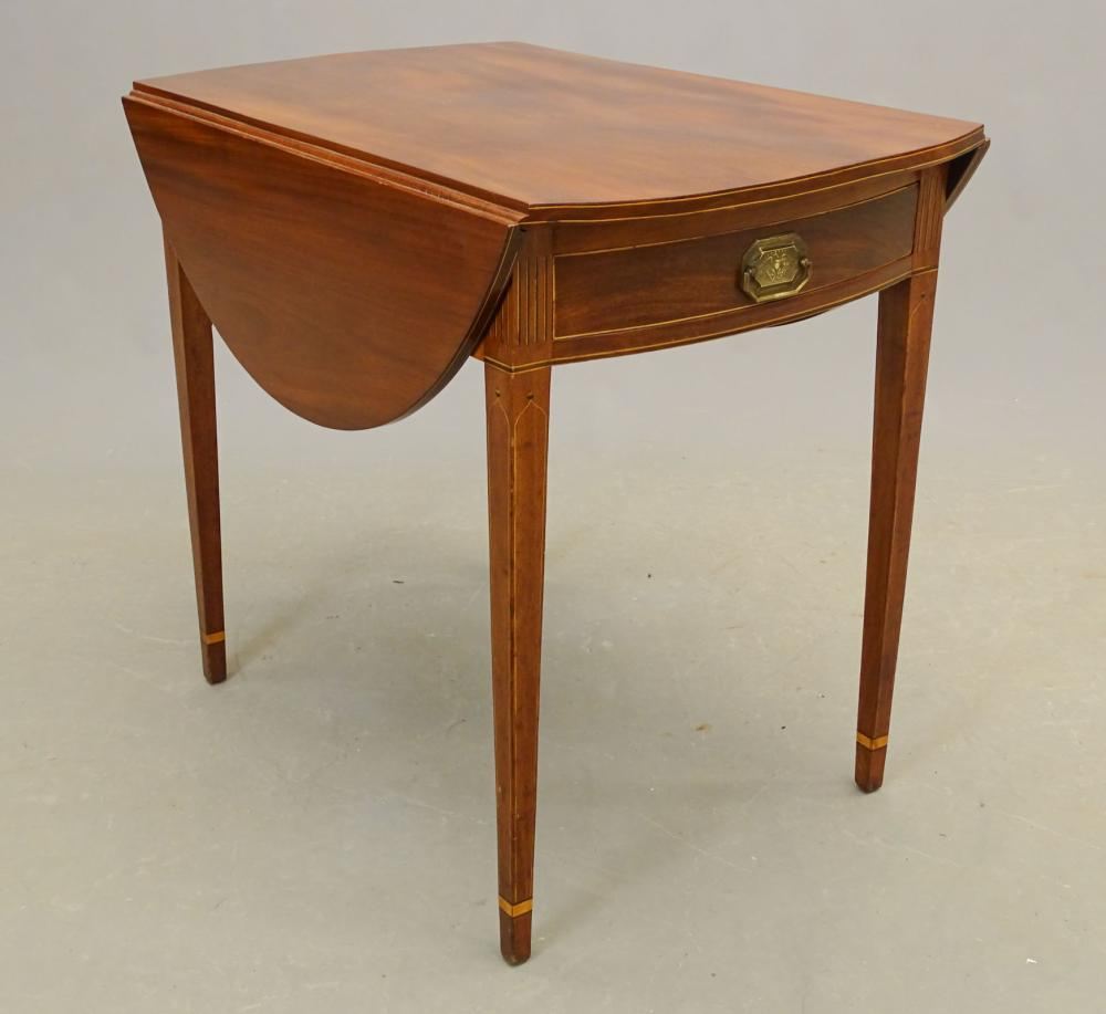 19th c. New York Mahogany Inlaid Pembroke Table