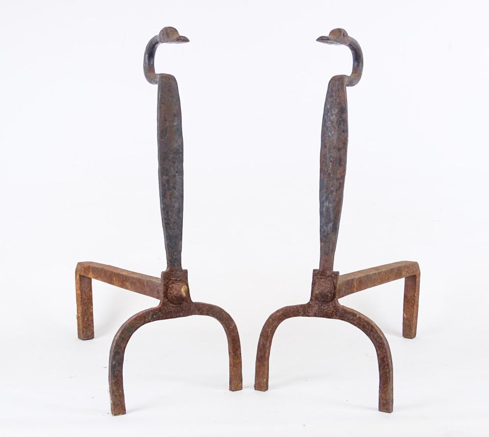 Pair Early Goose Head Andirons