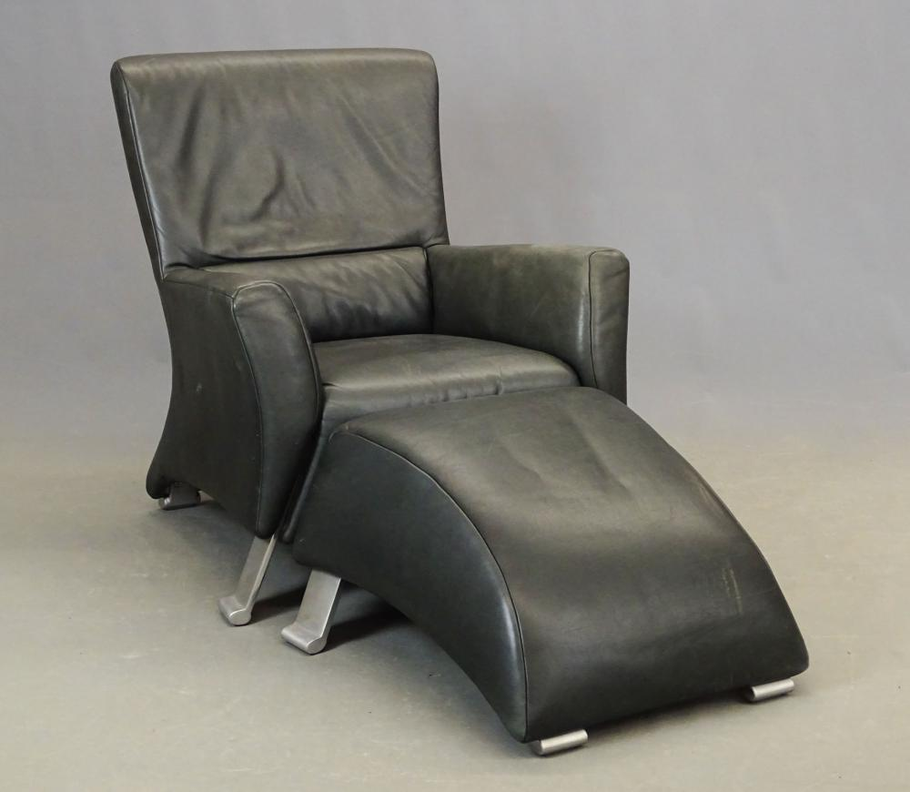 Forum Rolf Benz Leather Chair & Ottoman