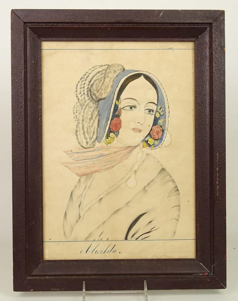 19th c. Watercolor Portrait Of A Girl