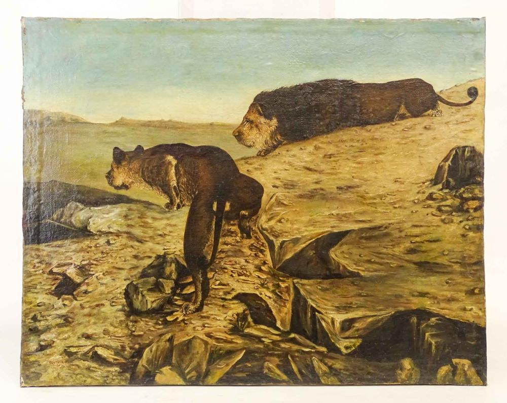 Pontacq (19th Century), Landscape With Lions