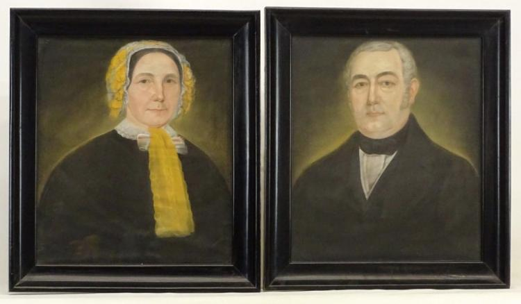 Pair 19th c. Ancestral Portraits