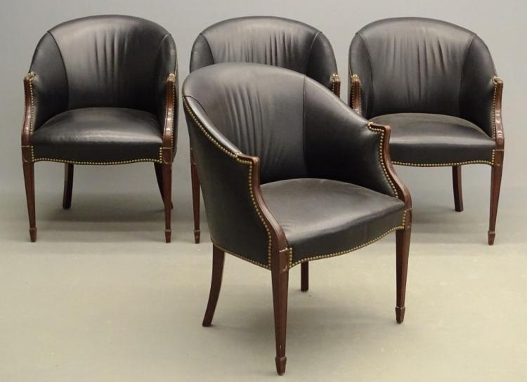Set Of (4) Barrel Back Chairs