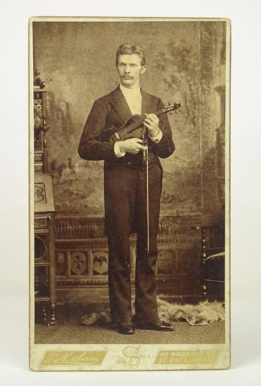 Large Cabinet Card With Violin Player