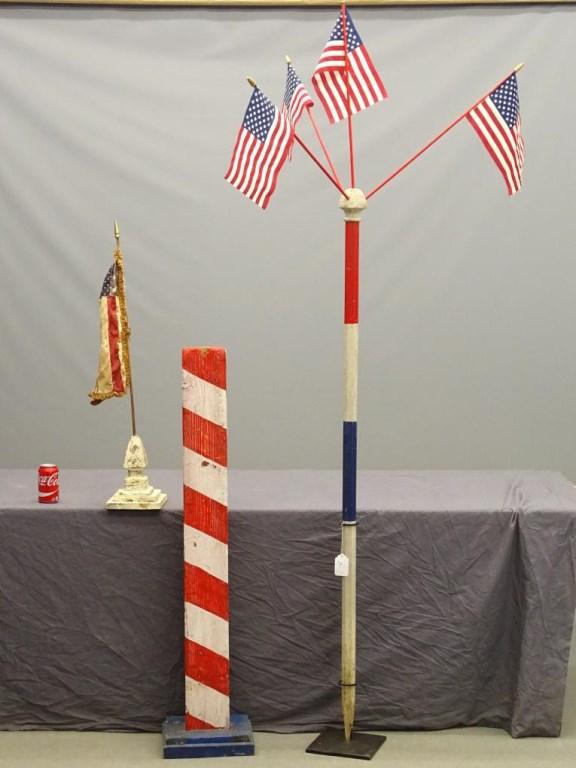 Barber Pole & Patriotic Flag Pole Lot